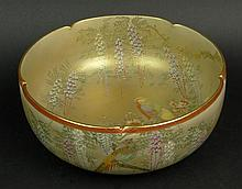 19th/20th Century Japanese Satsuma Hand Painted Porcelain Bowl. Very Finely Decorated with Birds, Flora and Mount Fuji, in Colors of Gold, Green, Yellow, Salmon, Violet and White. Signed with Character Mark on Base. Very Good Condition. Measures 4