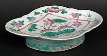 19th Century Chinese Export Porcelain Famille Rose Oblong Bowl with Pedestal Base and Fitted Box. Unsigned. Good to Very Good Condition. Measures Almost 2 Inches Tall, 1-7/8 Inches Long and 6-1/2 Inches Width. Shipping $36.00