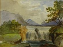 """Charles Stuart Forbes, American (1856 - 1926) Watercolor """"Waterfall"""" Signed Lower Right CF Monogram"""