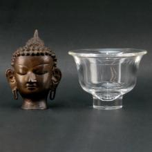 Grouping of Steuben Crystal Dish and Vintage Bronze Buddha Sculpture