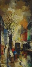 Mid 20th Century Paris School Street and Canal Scene