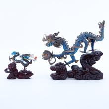 Two (2) Vintage Chinese Asian Silver And Enamel Dragons on Stands