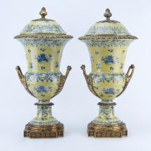 Pair of Modern French Style Gilt Brass Mounted and Porcelain Urns
