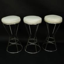 Set of Three (3) Modern Chrome and Faux Ostrich Upholstered Stools