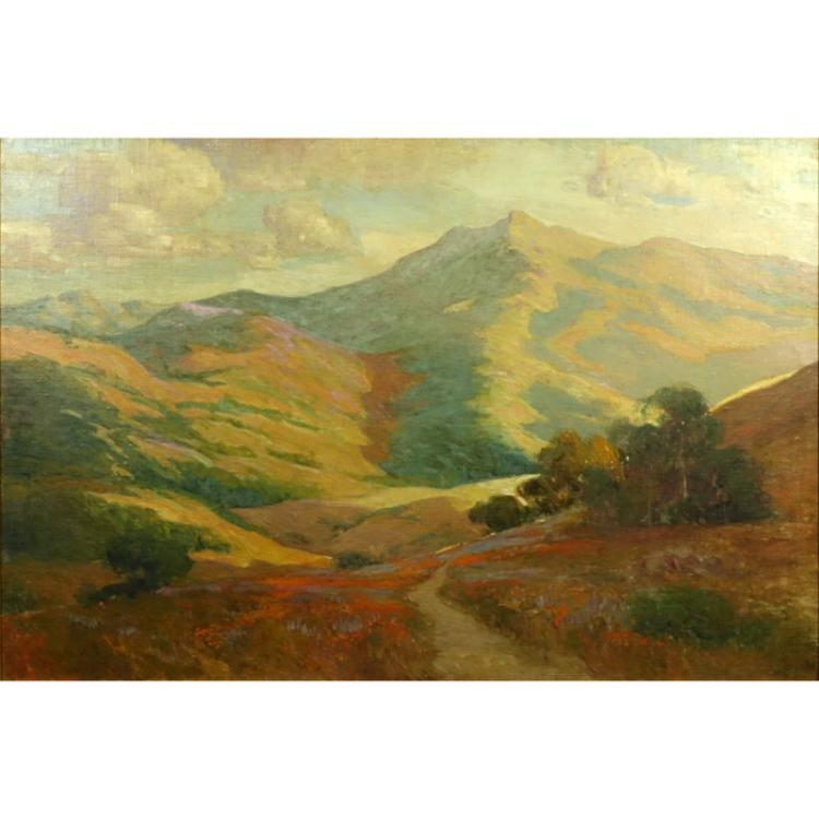 Large California School Oil On Canvas Laid Down On Board
