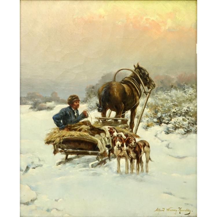 Alfred von Wierusz-Kowalski, Polish (1849-1915) Oil on canvas