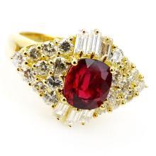 1.86 Carat Cushion Cut Ruby, 1.67 Carat Round Brilliant and Baguette Cut Diamond and 18 Karat Yellow Gold Ring.