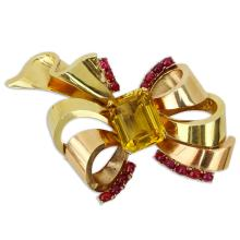Circa 1940s Mauboussin Cabochon Ruby, Large Citrine and 14 Karat Yellow Gold Brooch