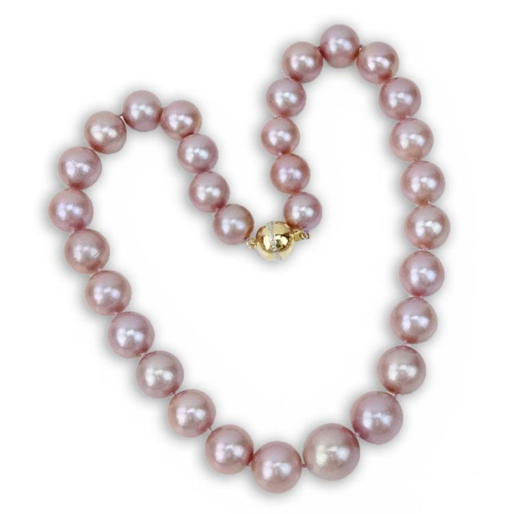 Single Strand Graduated Lavender Pearl Necklace with 14 Karat Gold Clasp
