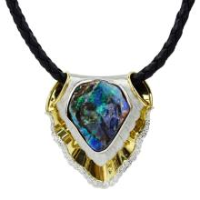 Large Black Opal, Platinum and 18 Karat Yellow Gold Pendant Necklace accented with Round Brilliant Cut Diamonds and suspended by Braided Leather Necklace