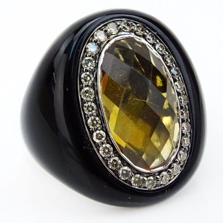 Oval Cut Citrine, Round Cut Diamond, Resin and 14 Karat White Gold Ring