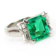 2.31 Carat Emerald Cut Emerald and Platinum Ring