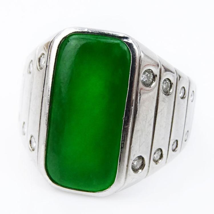 3.79 Carat Cabochon Jade and Platinum Ring