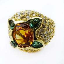 Oval Cut Citrine, Tsavorite Garnet, Pave Set Diamond and 18 Karat Yellow Gold Ring