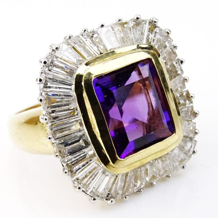 Emerald Cut Amethyst, Baguette Cut Diamond and 14 Karat Yellow Gold Ring