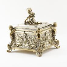 Victorian Silver Plate Figural Jewel Box