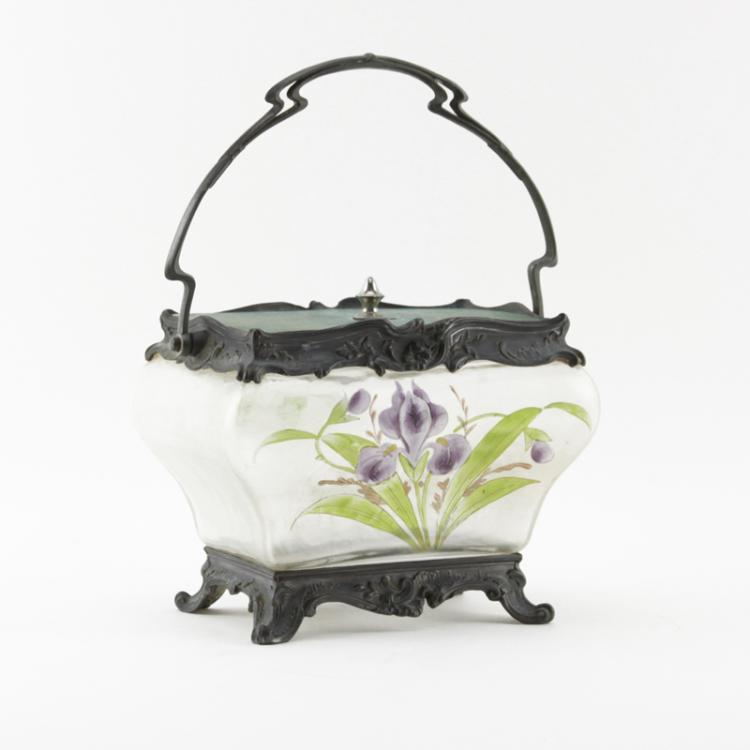 Art Nouveau Period Metal Mounted Enameled Glass Box