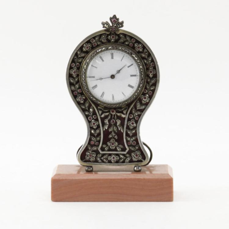 Antique Guilloche Enamel, Sterling Silver and Marcasite Desk Clock on Stone Base