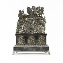 Antique Viennese 800 Continental Silver Repoussé Mantle Clock