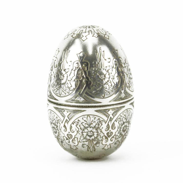 An 1886 Imperial Russian Silver Egg