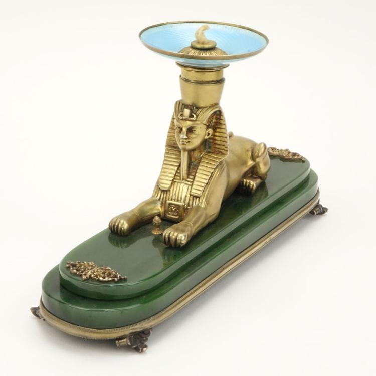 20th Century Russian Egyptian Revival Nephrite Jade, 88 Silver and Guilloche Enamel Figural Sphinx Desk Lighter