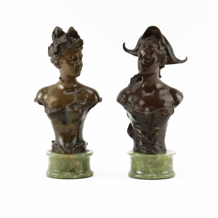Franz Iffland, German (1862-1935) Pair of Art Nouveau Bronze Busts on Onyx Bases