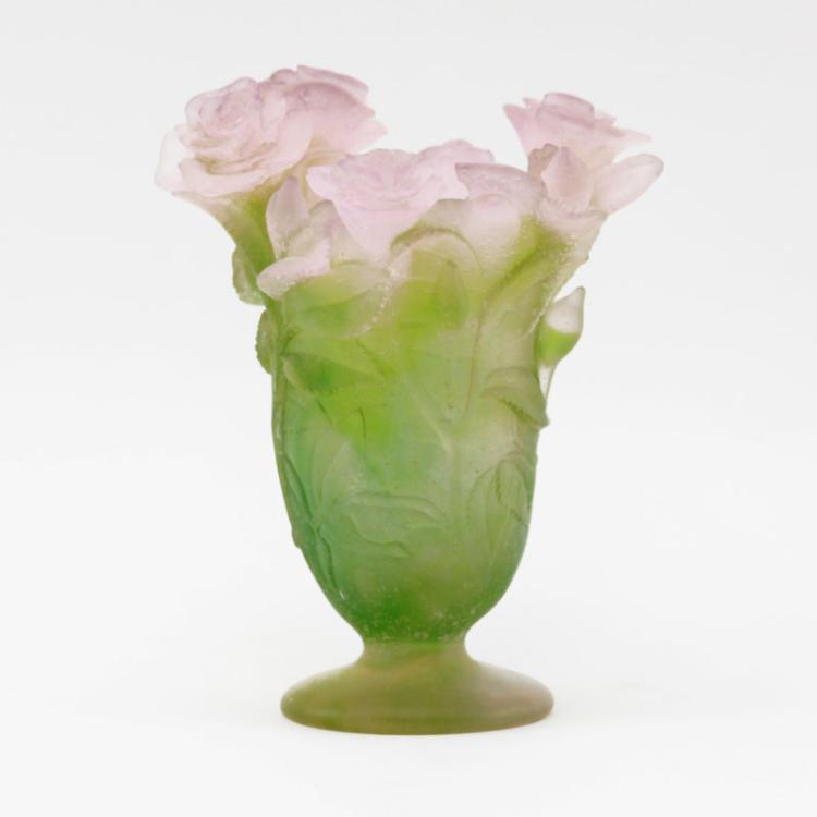 Daum Pate De Verre Floral Vase