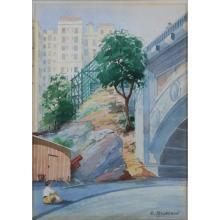 Russian School Watercolor on Paper, Urban Landscape