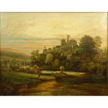 Large 19th C English School Oil on Canvas