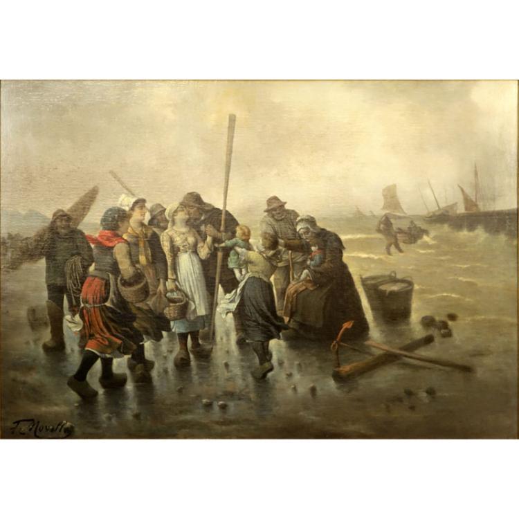 Fr. Noville (19th C) Large Oil On Canvas