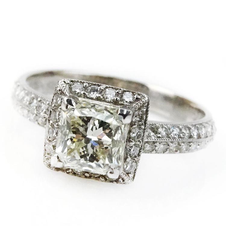 1.51 Carat Princess Cut Diamond and 18 Karat White Gold Engagement Ring