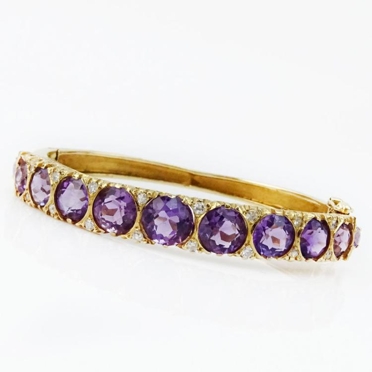 Vintage Round Cut Amethyst, Diamond and 14 Karat Yellow Gold Hinged Bangle Bracelet