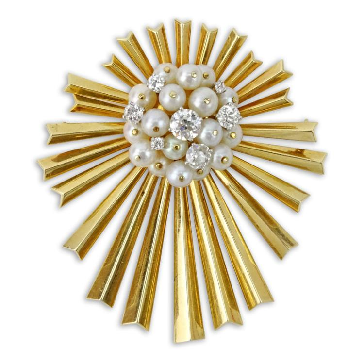1.50 Carat European Cut Diamond, Pearls and 14 Karat Yellow Gold Sunburst Pendant/Brooch.
