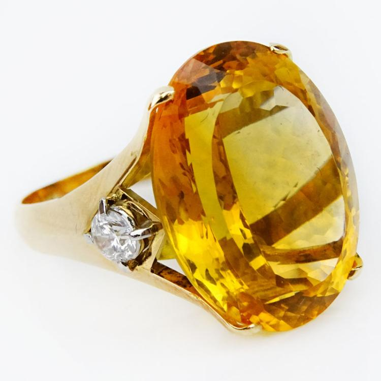 Large Oval Cut Citrine, Diamond and 18 Karat Yellow Gold Ring