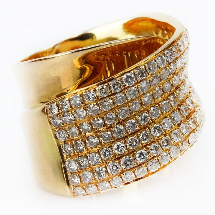 2.0 Carat Round Brilliant Cut Diamond and 18 Karat Rose Gold Cross Over Ring