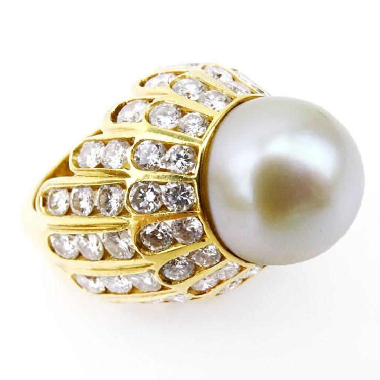 14mm South Sea White Pearl, approx. 7.0 Carat Round Brilliant Cut Diamond and 14 Karat Yellow Gold Ring.