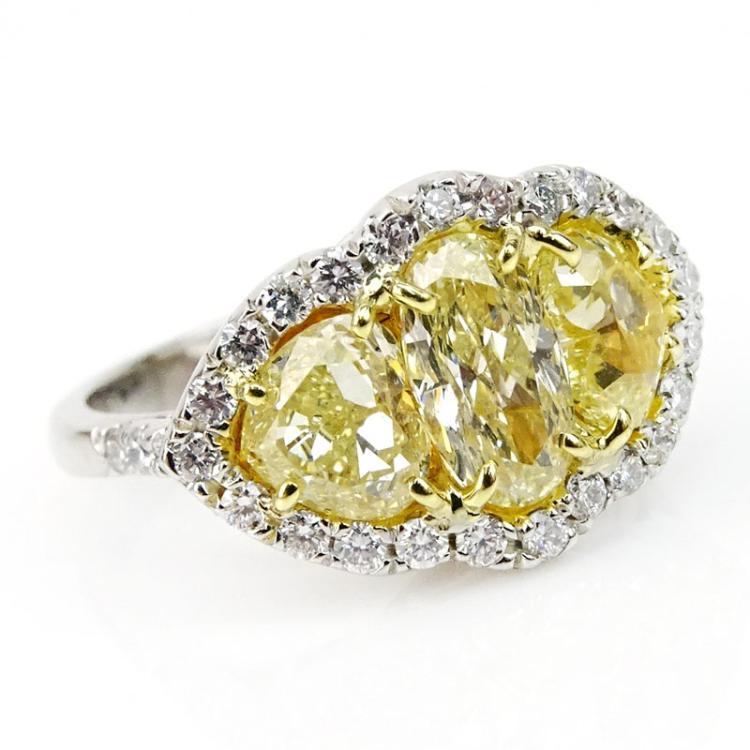 3.02 Carat Oval and Heart Shape Fancy Light Yellow Diamond,