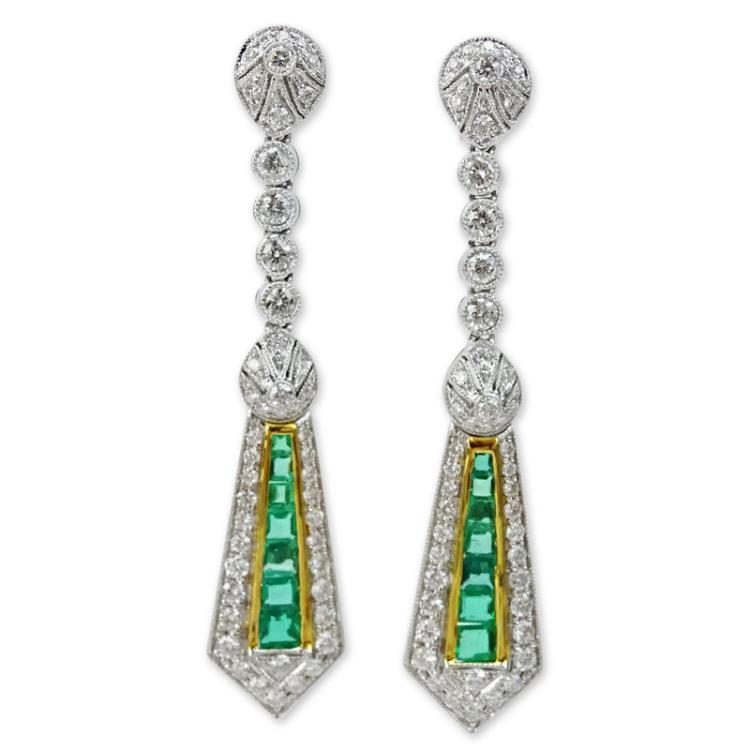 1.70 Carat Round Brilliant Cut Diamond. 1.41 Carat Emerald and 18 Karat Gold Pendant Earrings.