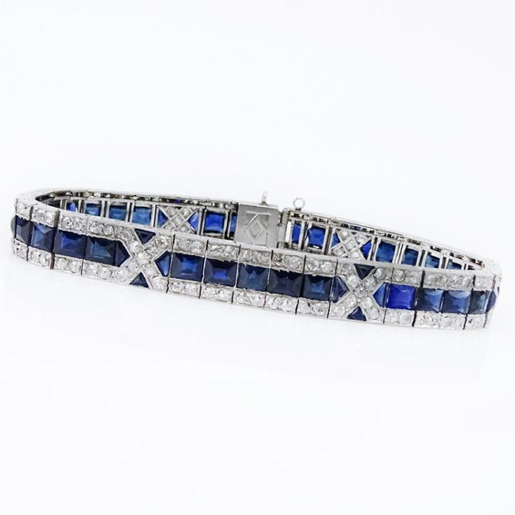 Circa 1920 Art Deco French Cut Sapphire, Old European Cut Diamond and Platinum Bracelet