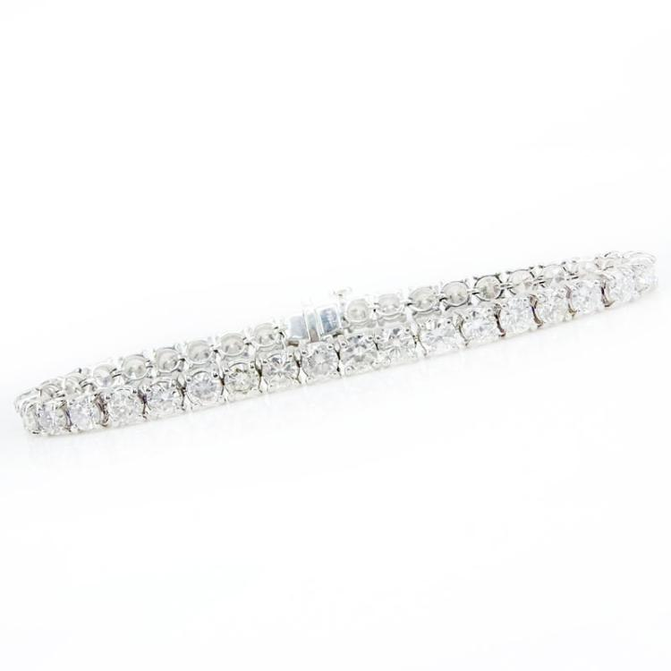 8.31 carat Round Brilliant Cut Diamond and Platinum Line Bracelet