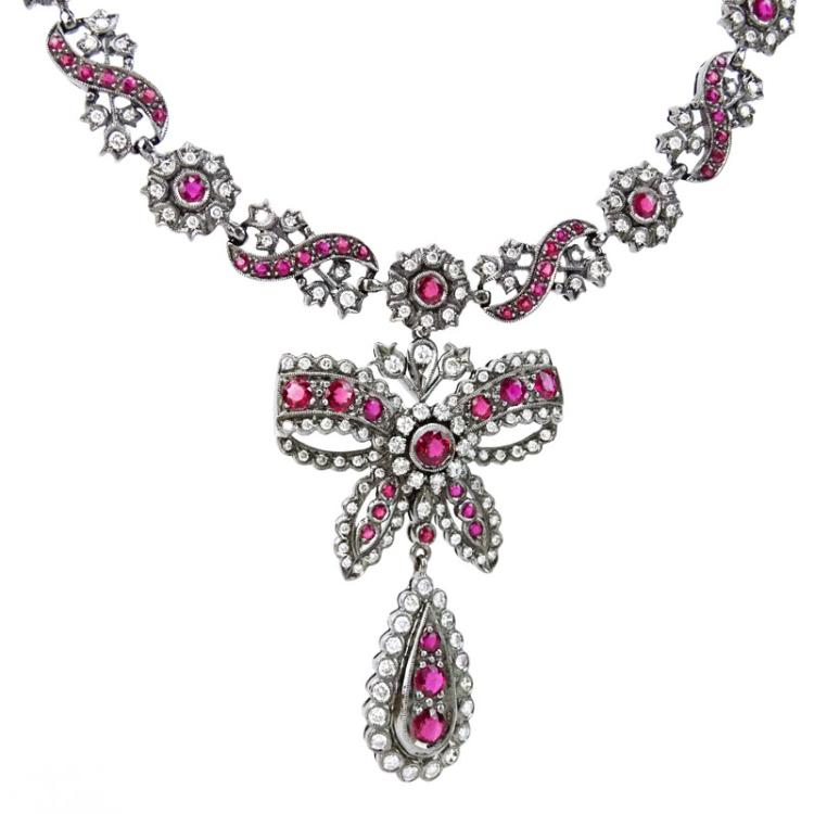 Antique Style Ruby, Diamond and 18 Karat Blackened White Gold Pendant (detachable) Necklace
