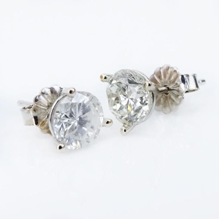 1.68 Carat Round Brilliant Cut Diamond and 14 Karat White Gold Ear Studs