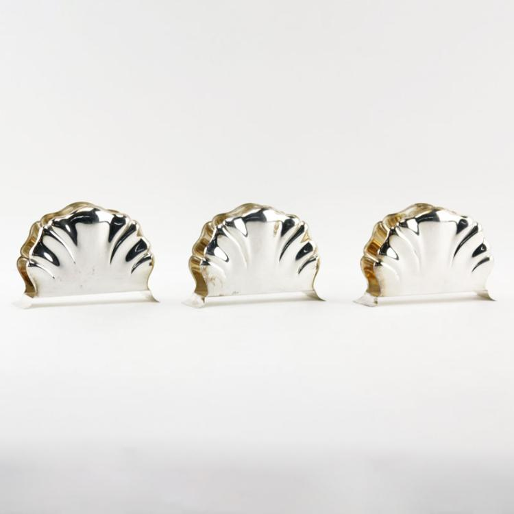 Grouping of Three (3) Lutz and Weiss 835 Silver Shell Shaped Napkin Holders