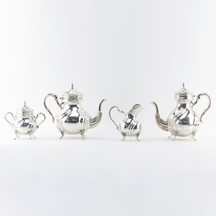 Antique Four (4) Piece 900 Silver Coffee Service