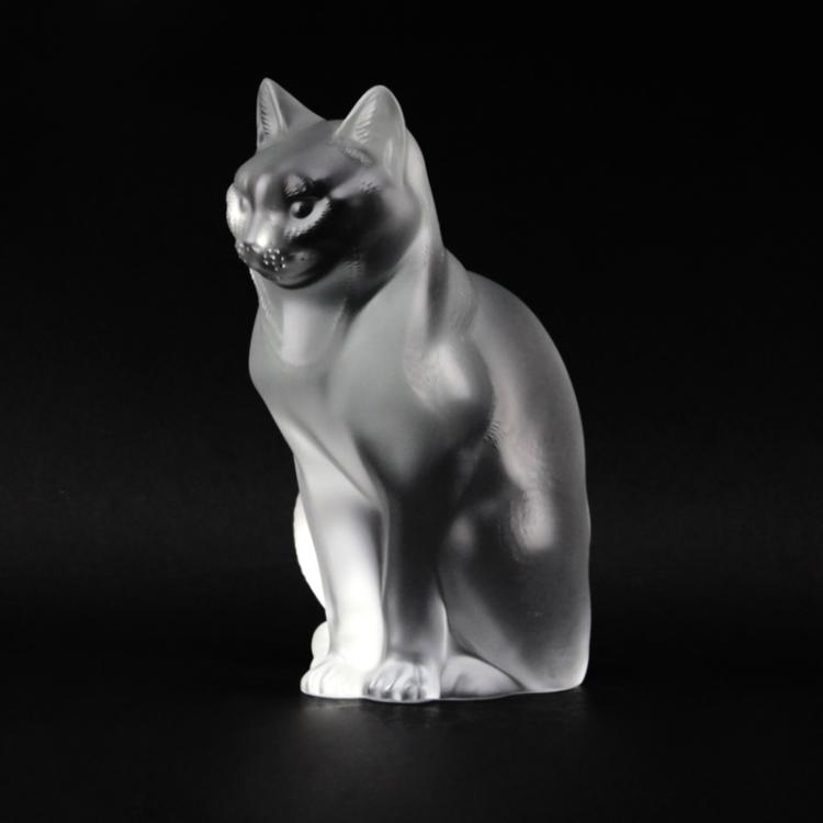 Lalique Crystal Seated Cat Figurine