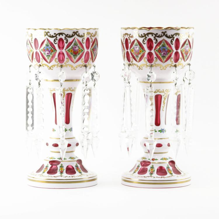 Pair of Bohemian Cranberry Glass Lusters