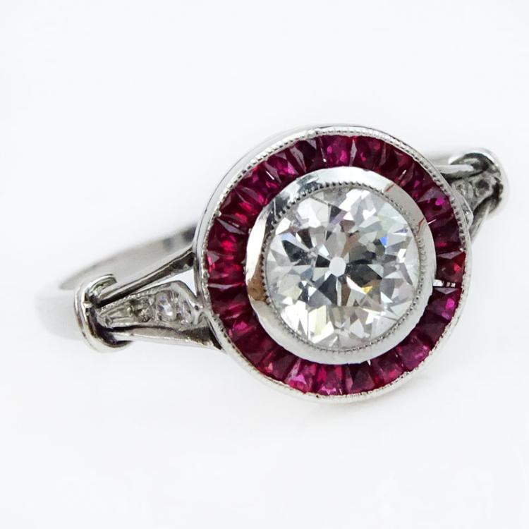 Art Deco Approx. .80 Carat European Cut Diamond, Caliber Cut Ruby and Platinum Engagement Ring.