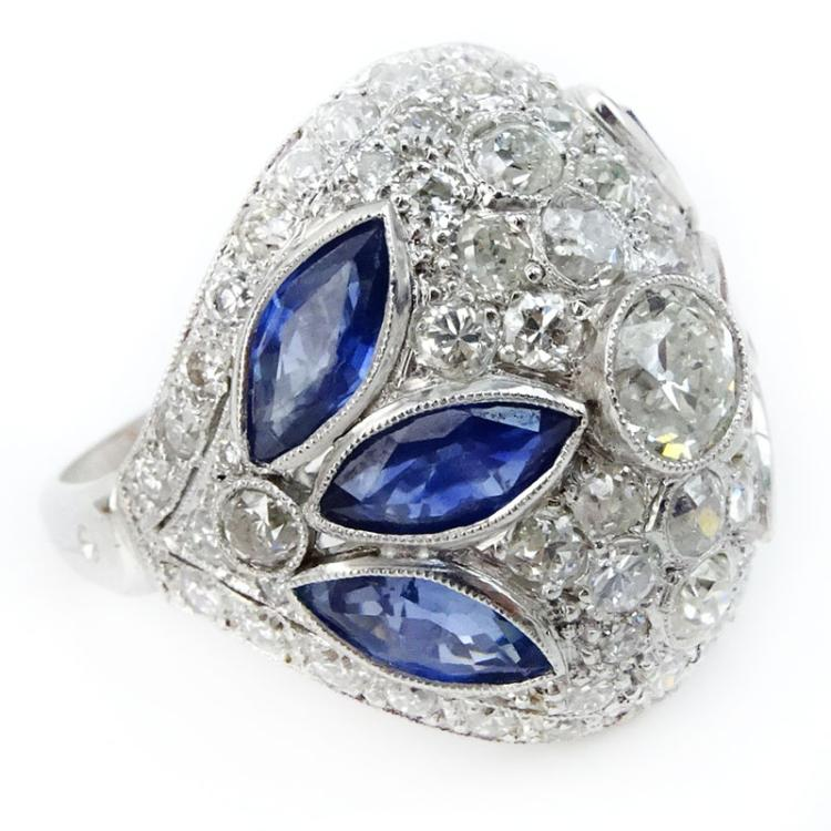 Art Deco Circa 1930 Approx. 2.50 Carat European Cut Diamond, 2.50 Carat Marquise Cut Sapphire and Platinum Ring