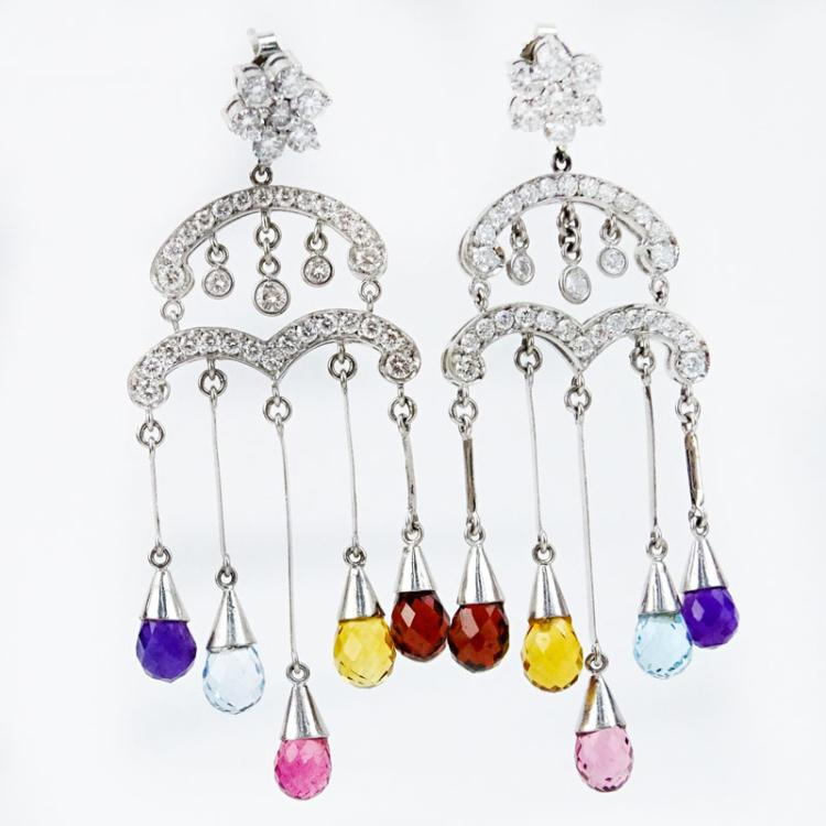 2.0 Carat Round Brilliant Cut Diamond, Multi Color Briolette Sapphires and 18 Karat White Gold Chandelier earrings