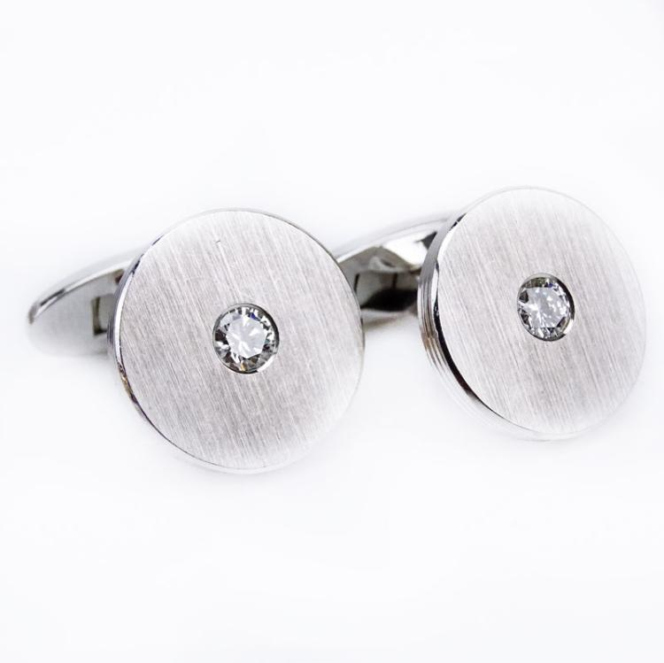 Men's Approx. .60 Carat Invisible Set Round Brilliant Cut Diamond and 18 Karat White Gold Cufflinks
